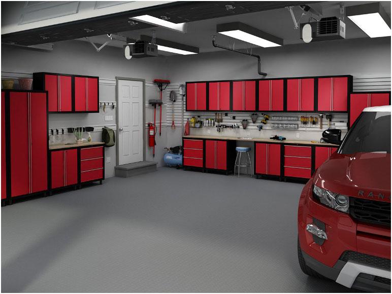 Red Metal Garage Storage Cabinets Design