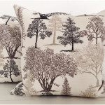 Sepia Trees and Black Velvet Cushion