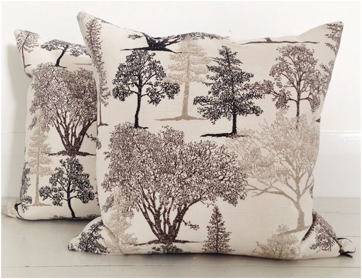 Sepia Trees and Black Velvet Cushion
