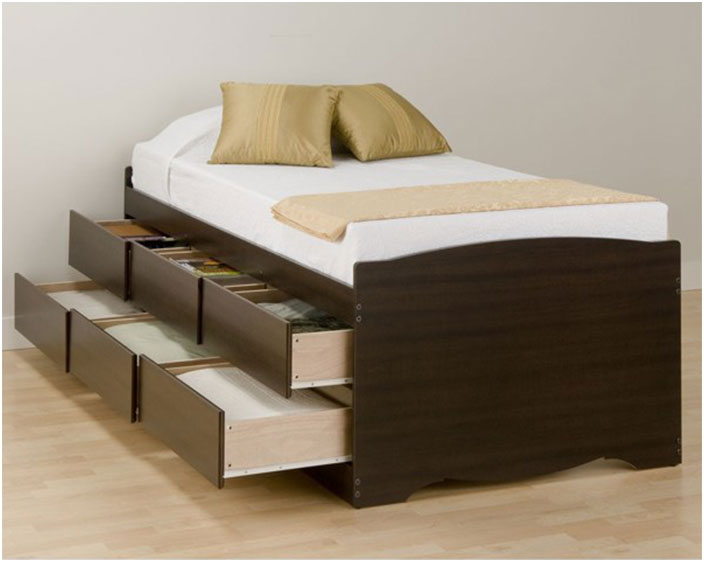 Twin Platform Bed Frame with Storage