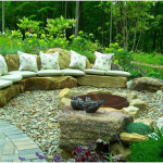 Unique Garden Patio Design with Rock Seating