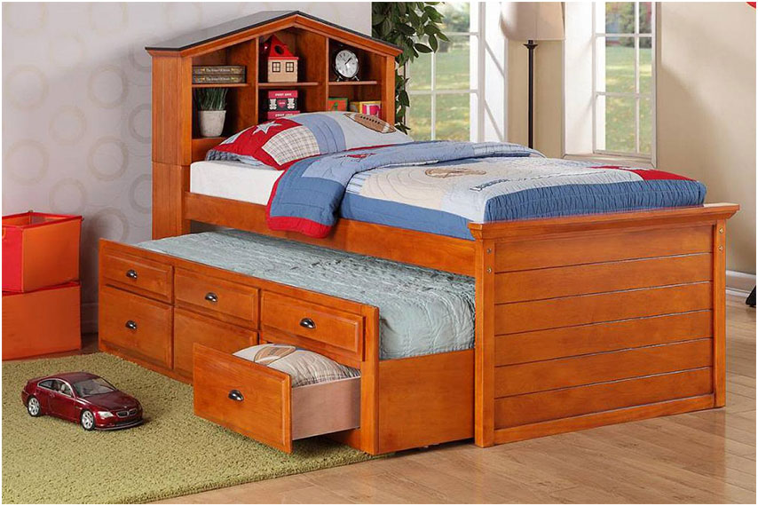 Wooden Twin Xl Bed Frame with Drawers