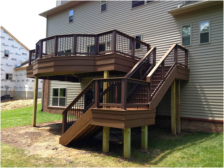 beautiful deck designs over walkout basement interior