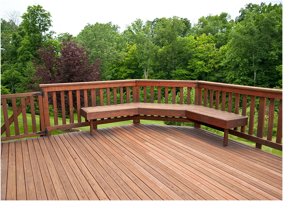 Beautiful Deck Designs with Corner Bench Seating