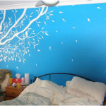 Blue Walls With White Tree Wall For Kids Bedroom