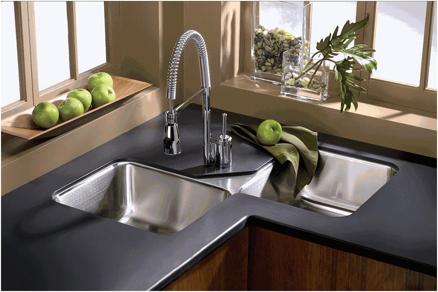 Double Bowl Corner Kitchen Sink Undermount | Interior Design Ideas