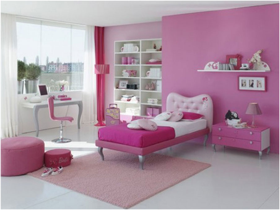 Girls Bedroom Decoration with Pink Wall Painting Inspiration