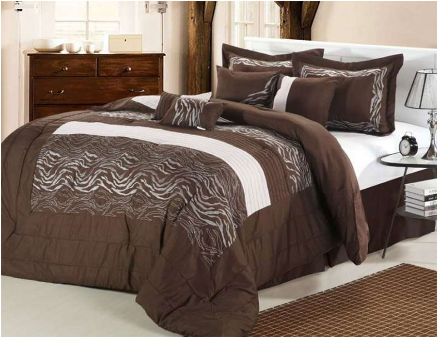Luxury Brown and White Comforter Set