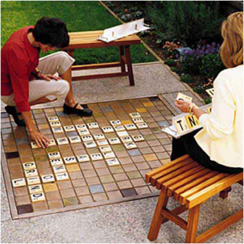 Make a giant Scrabble set in Backyard