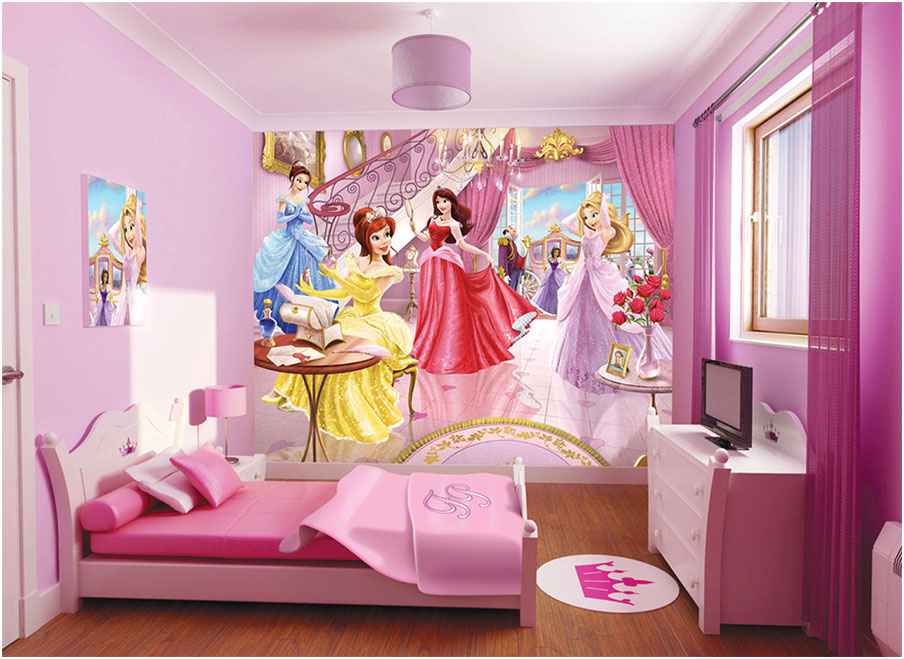 Minimalis Girls Bedroom Decorating Ideas with Disney Princess Wallpaper