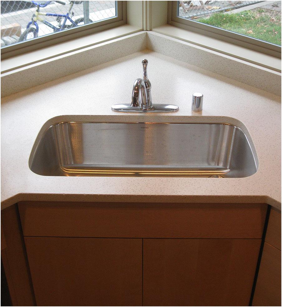 Minimalist Corner Kitchen Sink Stainless Steel