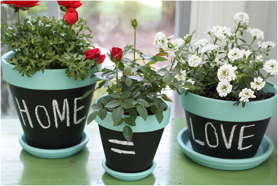 nice mini chalkboard flower pots interior design ideas