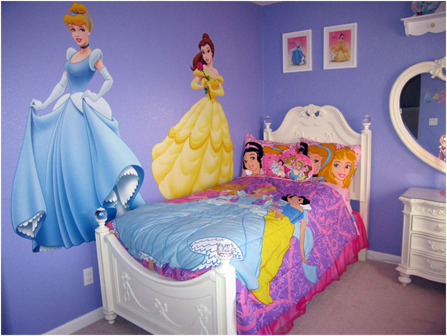 Princess Girls Bedroom Decorating Ideas with Purple Wall