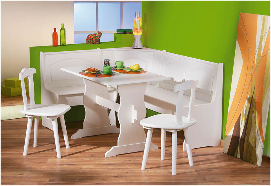 Simple White Stylish Corner Kitchen Tables