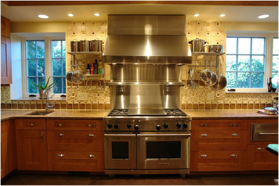 Stainless Steel Backsplash Design With Warming Shelf