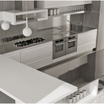 Stainless Steel Backsplash Design With White Cabinets