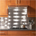Stainless Steel Backsplash Design With Wooden Cabinets