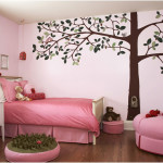 Sweet Pink Girls Bedroom Decorating Ideas with Tree Wallpaper