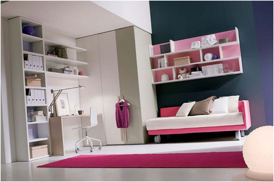 combined White and Pink Stunning Study Space Inspiration For Teens
