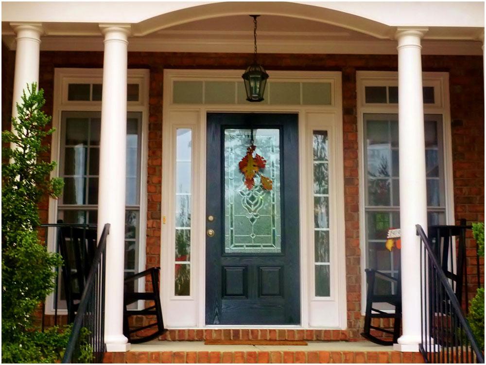 Black Single Wooden Front Door With Half Glass Interior Design Ideas