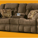 Brown Double Recliner Chair Whith Console Loveseat