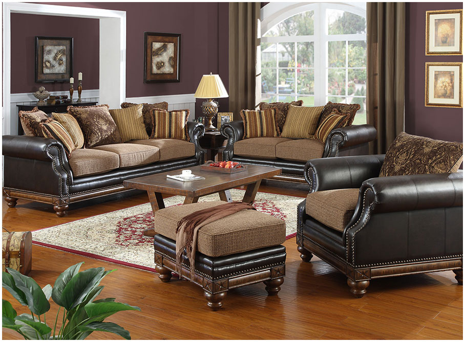 Brown Wall Theme of Living Room With Brown Leather Sofa And Wooden Table