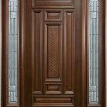Brown Wooden Front Door Ideas With Mirror