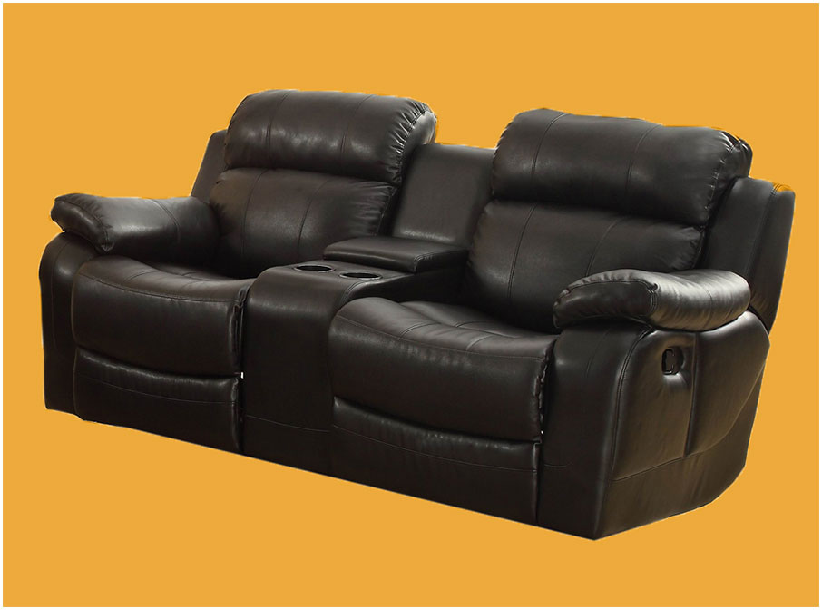Double Glider Reclining Loveseat With Center Console in Black Leather