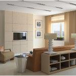 Elegant Brown Living Room Interior Design With Brown Sofa