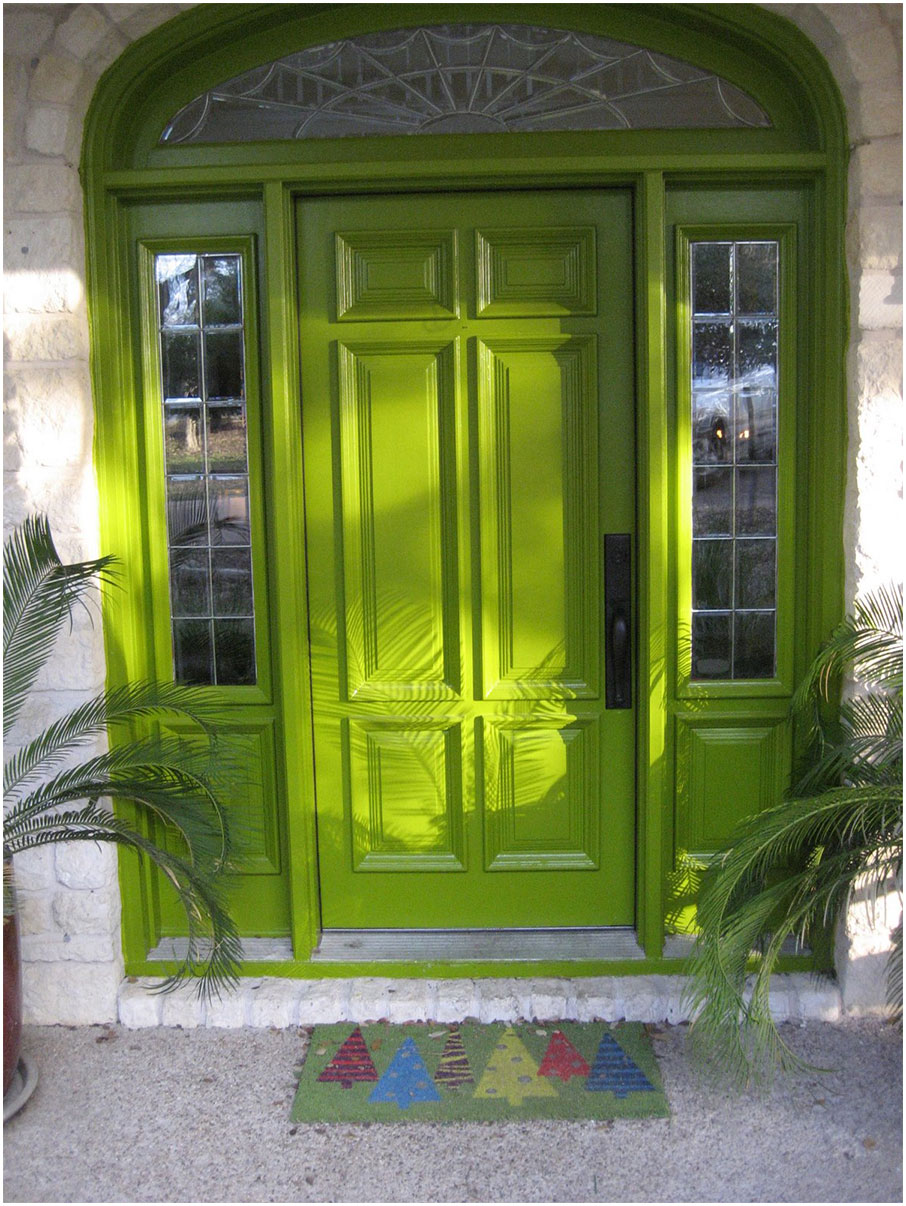 Green Wooden Front Doors Design Ideas