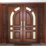Mahogany Wood Double Front Doors And Geometric Shap