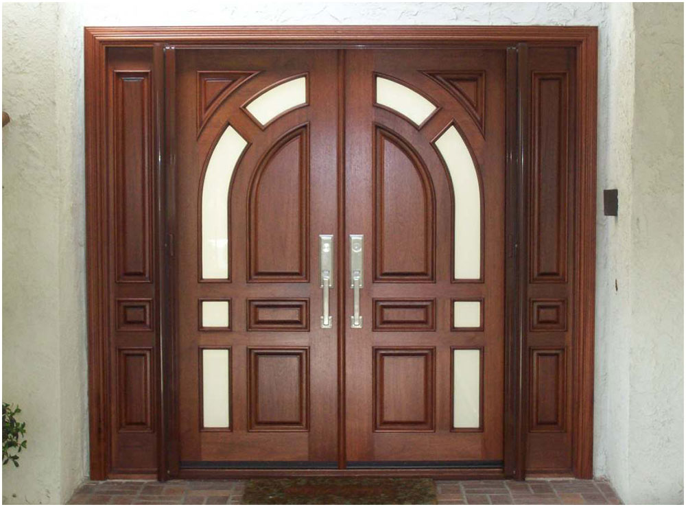 Mahogany Wood Double Front Doors And Geometric Shap