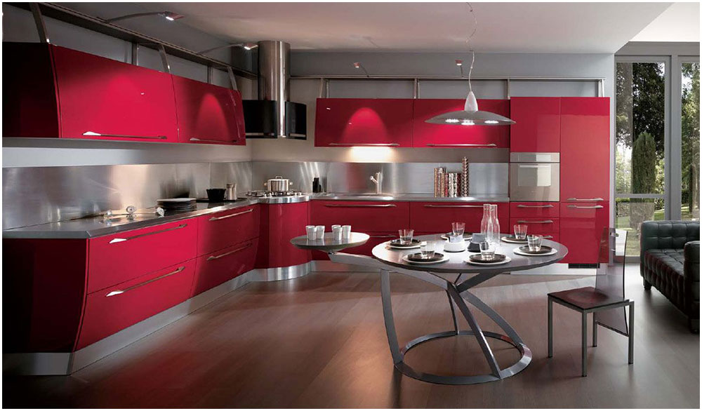 Manage Modern Kitchen ideas With Red Cabinet