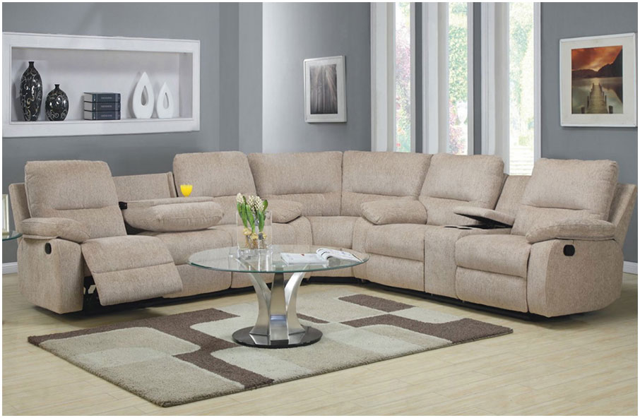 Modern Double Reclining Sectional Sofa