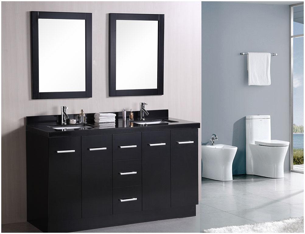 Charming Modern Bathroom Cabinets With Minimalist Mirror