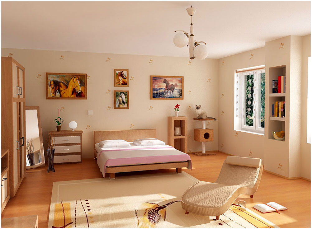 Comfortable Teen Bedroom Decor With Wooden Cabinet