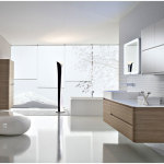 Futuristic Open Bathroom Vanity Design Ideas With Wooden Cabinet