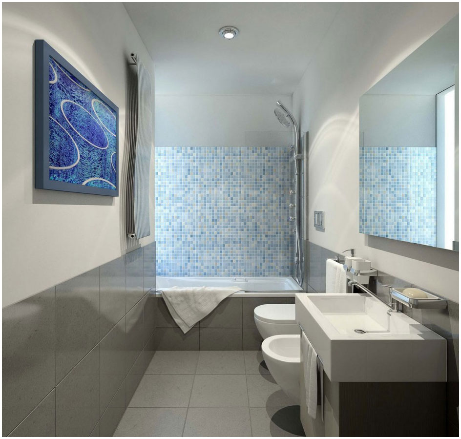 Futuristic Small Bathroom Design With Cozy Alcove Bathtub