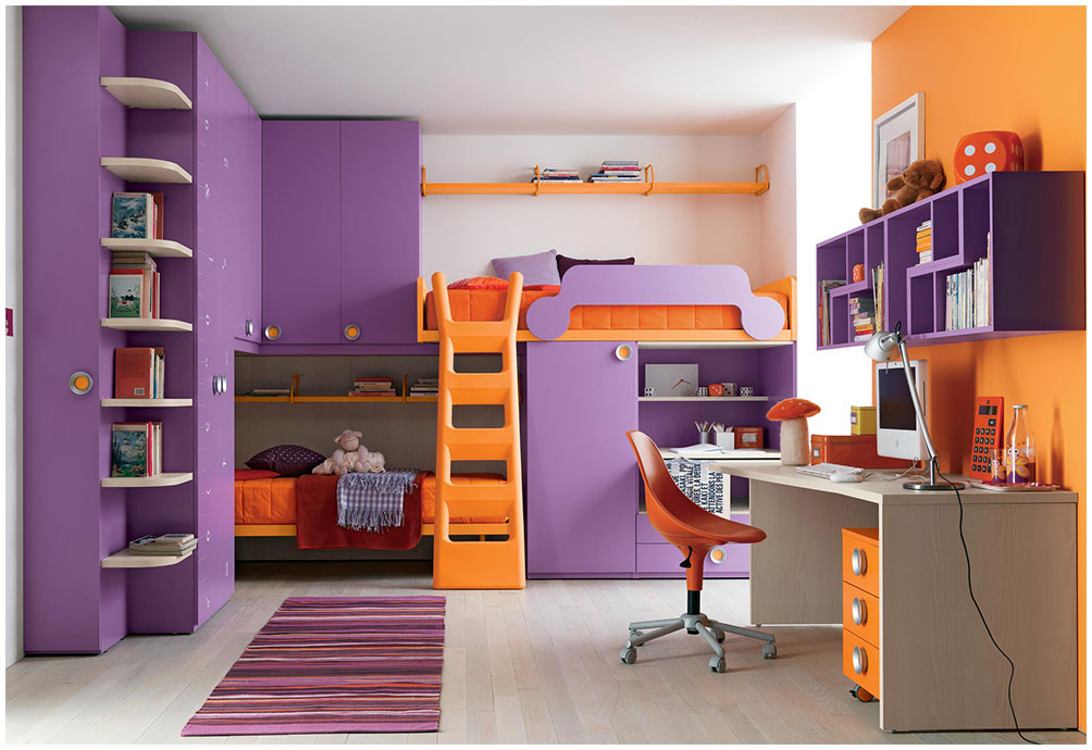 Organizing Room Tidy Ideas for Kids With Purple Color