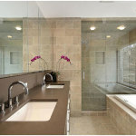 Perfect Master Bathroom with White Bathtub and Double Sink Stainless