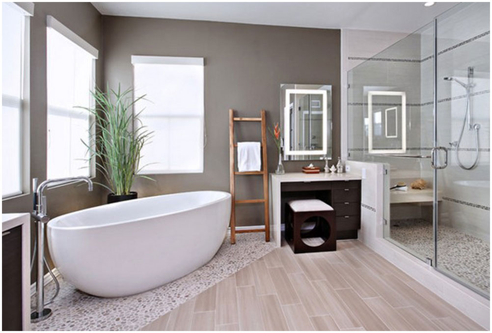 Perfect Minimalist Bathroom with Corner Bathtub