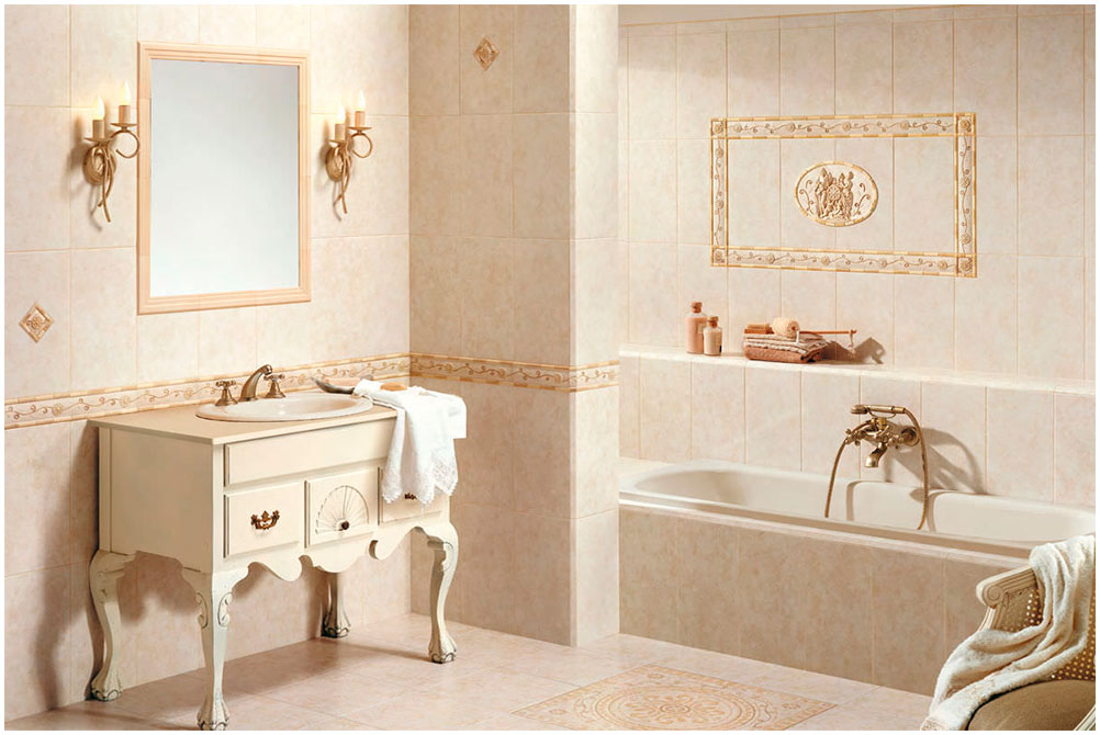Romantic Bathroom Decoration with Traditional Sink Cabinet