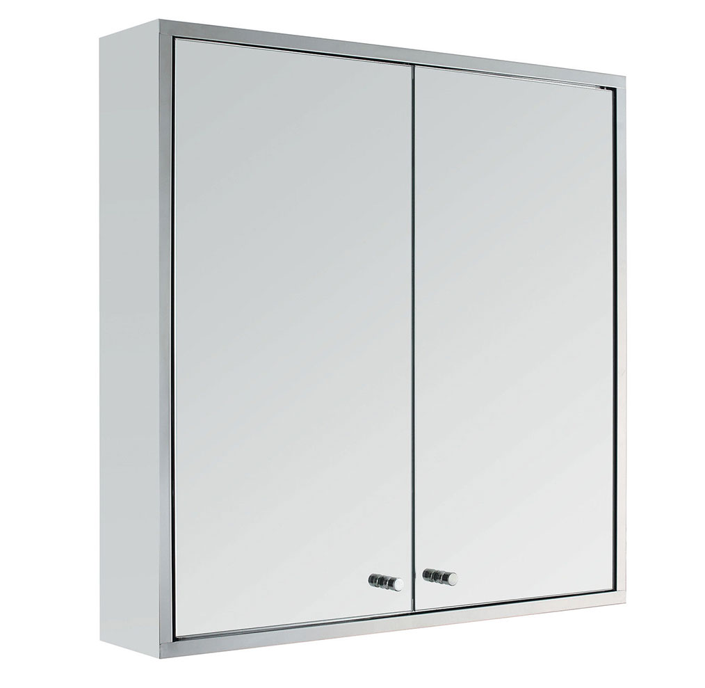 Stainless Steel Double Door Bathroom Cabinet Storage Furniture